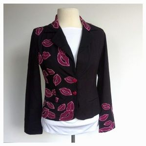 Designs by Naomi Size L Black Embroidered Blazer